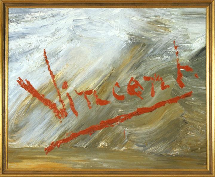 © Michael Schirner, Kisuaheli neumix, ohne Titel (Vincent), 1987, Öl auf Leinwand